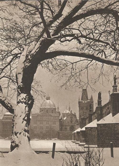 Winter Prague by Jiří Jeníček, late 40's, under the Charles Bridge