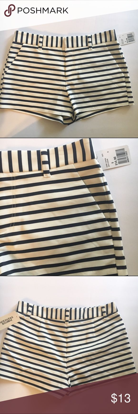 Forever 21 Nautical Striped Shorts NWT Very cute pair of shorts! Have the nautical look to them! Navy and white stripes. Forever 21 Shorts