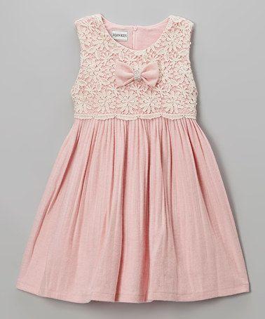 Pink Lace Pleated Dress - Girls by Bijan Kids