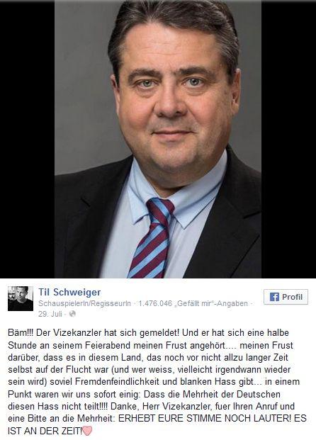 """Til Schweiger bekommt Anruf von Sigmar Gabriel http://www.bild.de/unterhaltung/leute/til-schweiger/telefoniert-mit-sigmar-gabriel-42000530.bild.html Deshalb habe ich Til Schweiger angerufen http://www.bild.de/politik/inland/sigmar-gabriel/erklaert-frust-telefonat-mit-til-schweiger-42005772.bild.html - #Til:..in diesem Land,das noch vor nicht allzu langer Zeit selbst auf der #Flucht war(und wer weiss,vielleicht irgendwann #wieder sein wird) - #TilSchweiger:""""Nicht #reden,sondern #helfen…"""