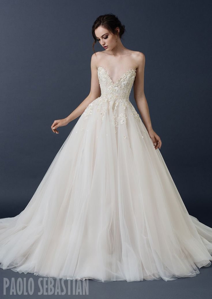 PSAW1503 French tulle ball gown with 3D floral embellishment                                                                                                                                                                                 More