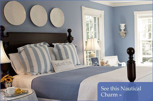 Nantucket Decor | Coastal Nantucket Home - ELLE DECOR minus the plate things behind the bed ... not romantic enough for me ... maybe a whale in light turquoise ~Carla