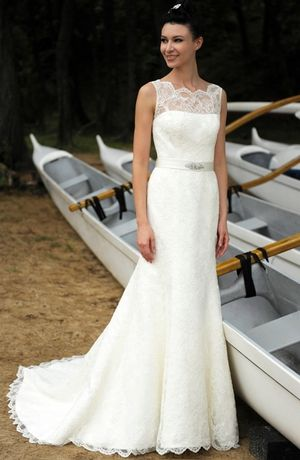 Illusion A-Line Wedding Dress  with Natural Waist in Lace. Bridal Gown Style Number:32884611