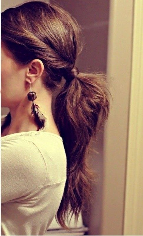 Long hair. Low ponytail, twist a section at the front of your hair, into ponytail with rest of hair, wrap piece of hair around band, pin with a bobby. Looks super easy!