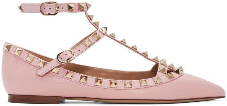 Valentino - Pink Valentino Garavani Rockstud Cage Ballerina Flats