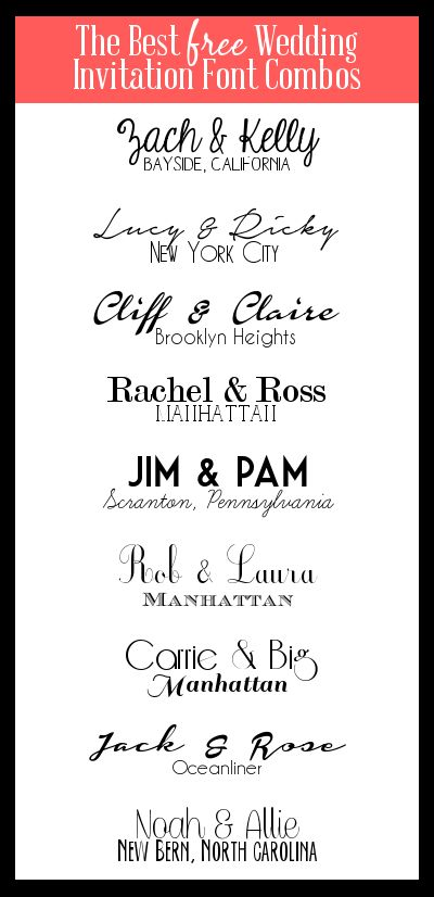 It's Always Ruetten: {Free} Invitation Font Combos  ~~ {18 free fonts w/ links}