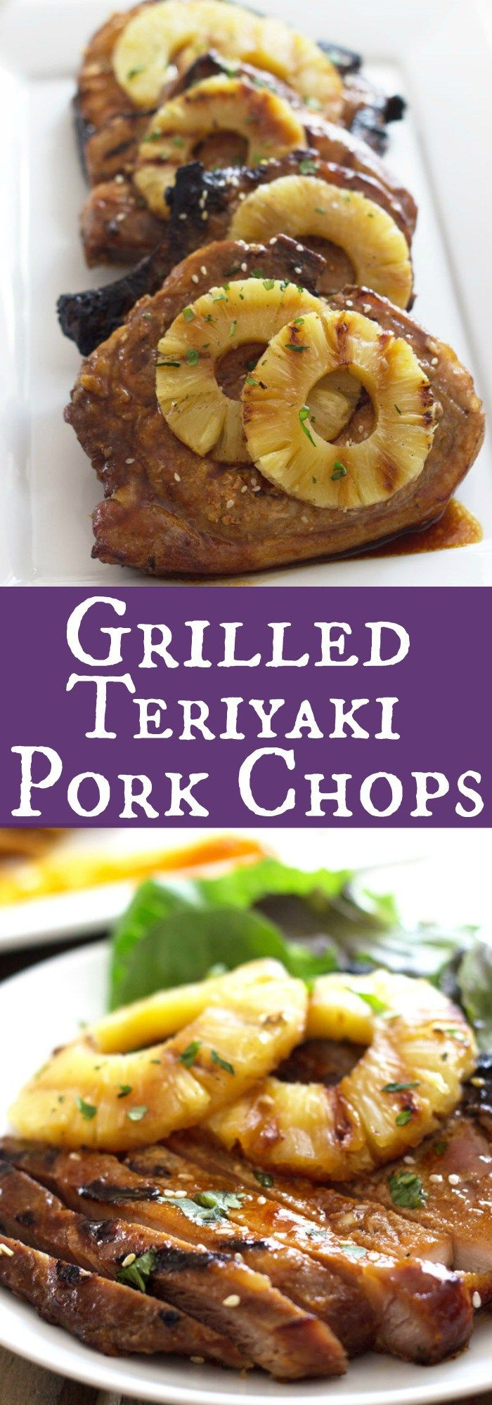 Grilled Teriyaki Pork Chops - pork chops marinated in a simple homemade teriyaki sauce then grilled to perfection!