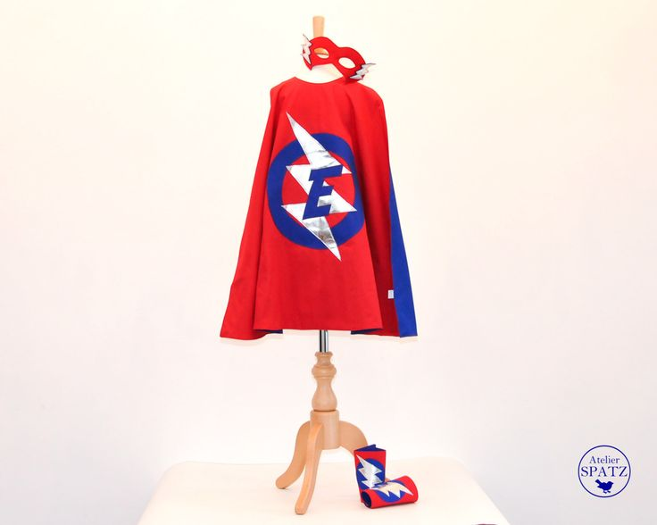 Personalised Superhero Outfit | Childrens Superhero Costume | Cape, Mask & Cuff Set | LIGHTNING BOLT Design | - with initial in the logo by AtelierSpatz on Etsy https://www.etsy.com/listing/255607702/personalised-superhero-outfit-childrens
