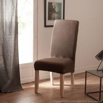 Housse de chaise uni bi-extensible coton/polyester LISA