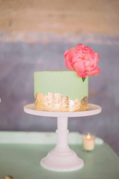 Mint and gold-leaf toned cake: http://www.stylemepretty.com/2014/11/10/whimsical-dallas-loft-wedding/