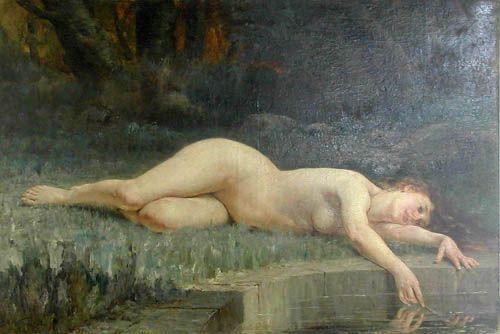 NÁYADE CERCA DEL AGUA,  Óleo sobre tela 181 x 120 cm Museo Nacional de Bellas Artes