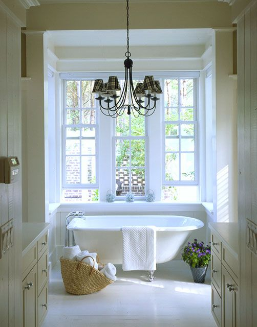 The cottage - master bathroom with claw foot tub  (Southern Living House Plan 593)