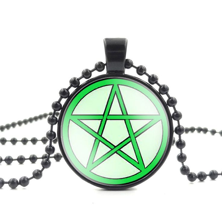 High Quality Glass Cabochon Pendant Necklace Pentacle Art Picture Fashion Jewelry Black Bead Long Chain Necklace for Women