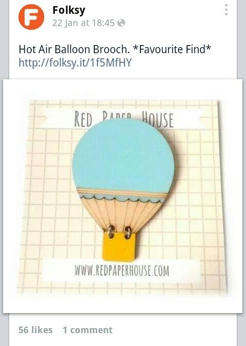 Facebook feature by Folksy of the Hot Air Balloon brooch.