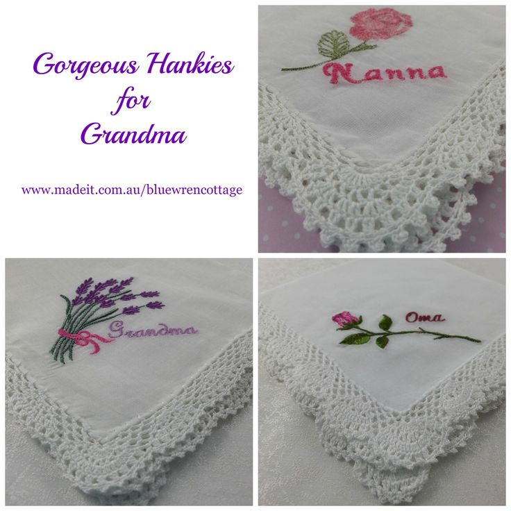 Gorgeous embroidered white cotton hankies with crocheted lace edging.