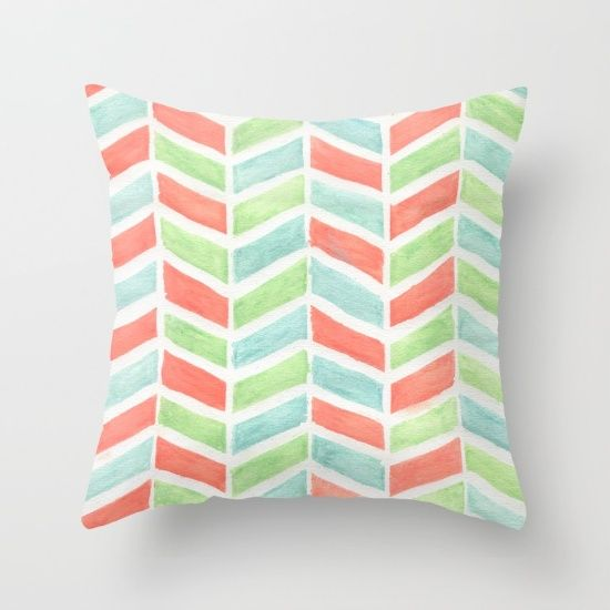 Pastel fishbone Throw Pillow
