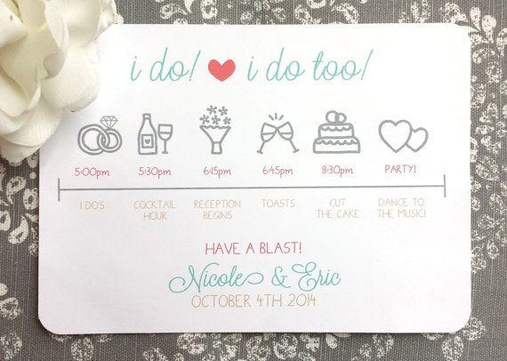 20 Printed Wedding Day Itinerary  I do and by ThatPrettyInvitation