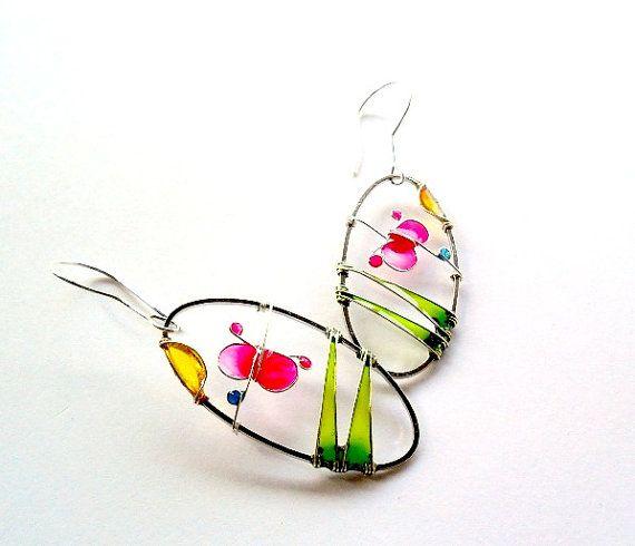 Fuchsia butterfly earrings pink jewelry oval by ThePurpleBalloon, $34.00