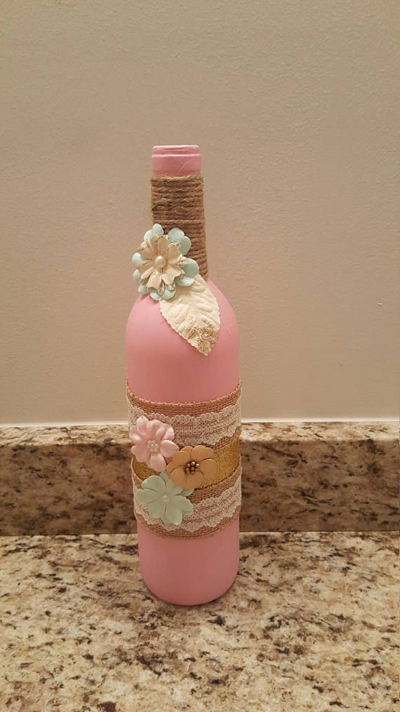 Shabby Chic Chalk Painted Wine Bottle Vases In Pink