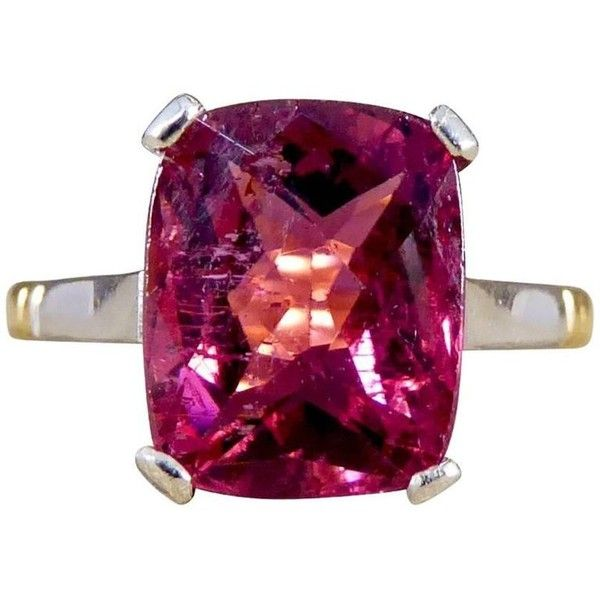 Preowned Pink Tourmaline 22 Carat Gold Ring, Circa 1930s ($917) ❤ liked on Polyvore featuring jewelry, rings, engagement rings, pink, gold band ring, pink tourmaline ring, pink engagement rings, preowned engagement rings and art deco engagement rings