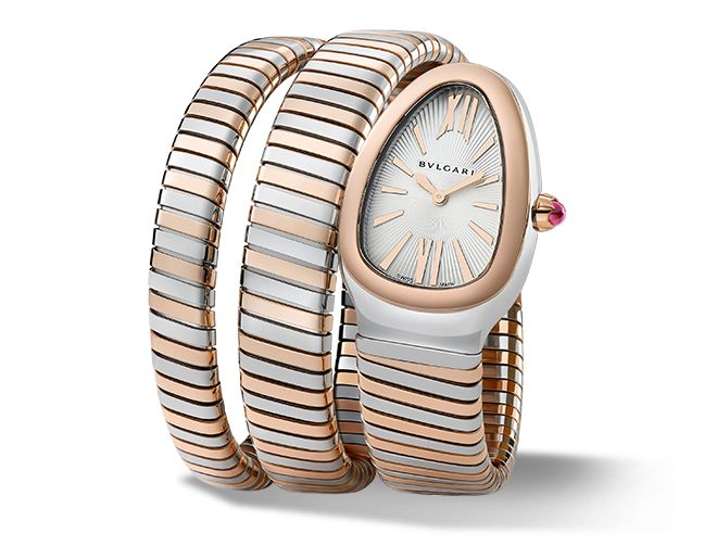 Quartz movement. 35 mm steel curved case with 18-ct pink gold bezel. 18-ct pink gold crown set with a cabochon-cut pink rubellite. Silver opaline dial with guilloch