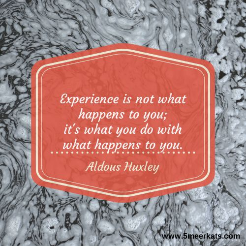 Experience is not what happens to you; it's what you do with what's happens to you. #huxley #experience