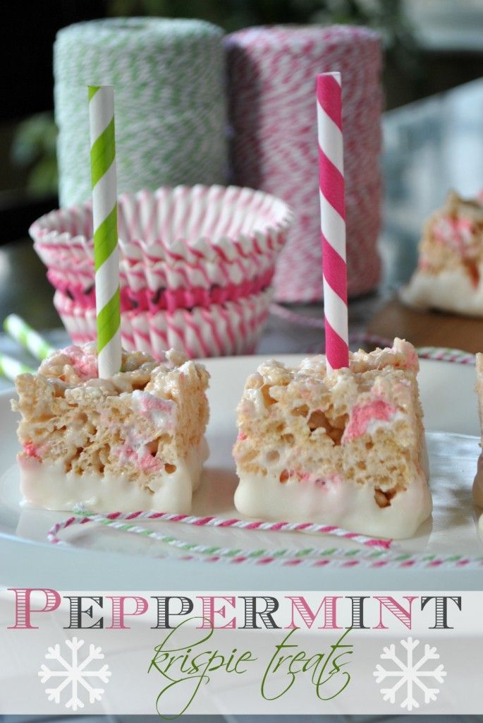Original Pinner States:  Peppermint Krispie Treats- candy cane #jell-o pudding mix gives these treats their peppermint flavor! Add in some peppermint marshmallows and dip in white chocolate...cute holiday treat! www.shugarysweets...