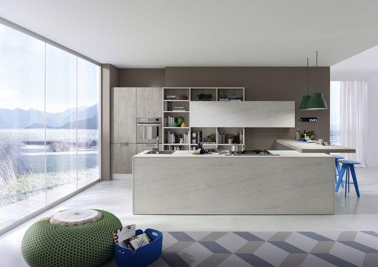 #EspaciosDeCalidad Cocinas PEDINI Italia linea Arké con su gran variedad de acabados y modulación permite integrar perfectamente la cocina con la sala.