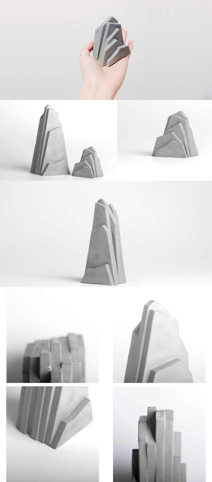 Personalized Concrete Mountain Bookends Desk Art Office Home Decoration Display Concrete Diy Concrete Decor Concrete Crafts