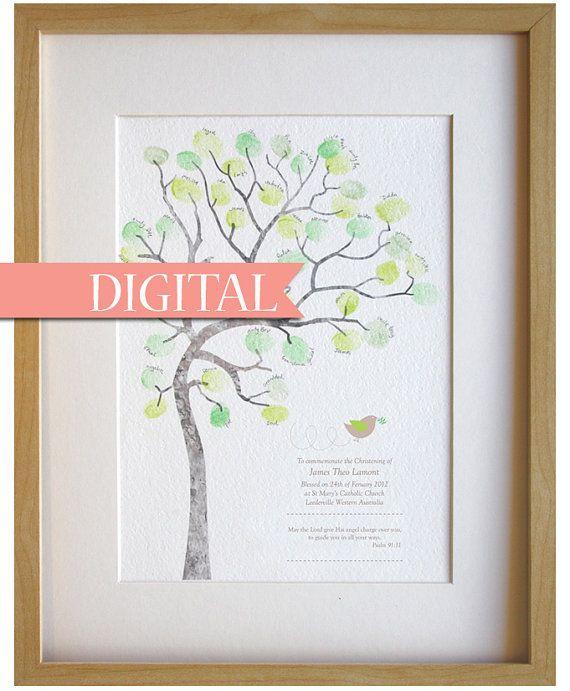 DIGITAL Boy baptême, jour d'affectation de noms, baptême, bébé garçon, fingerprint, arbre, décoration chambre bébé bricolage, détails de naissance personnalisés, impression A4