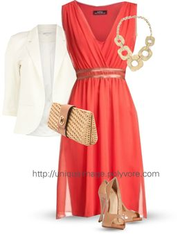I don't like the blazer or the bag but the dress is pretty.