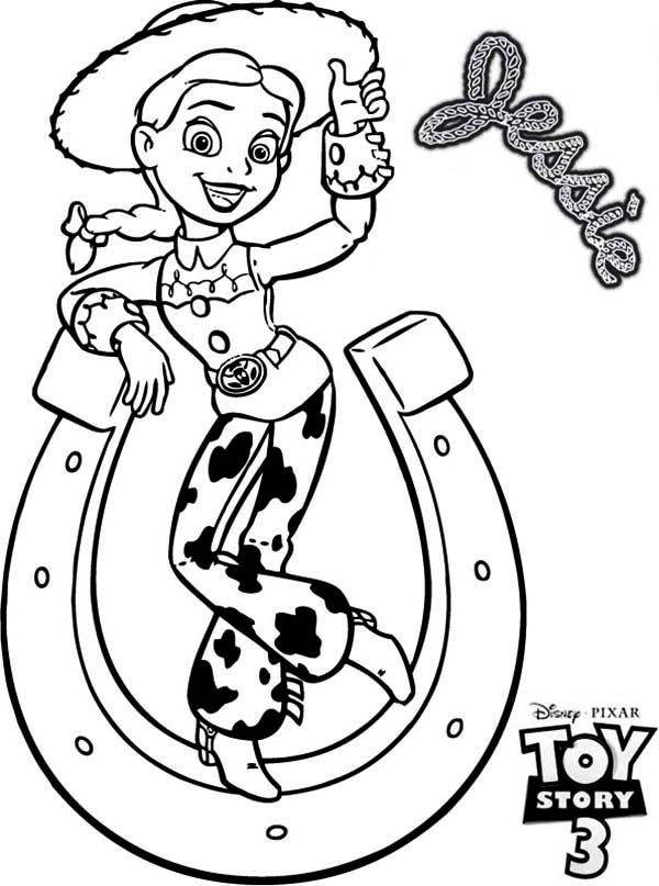 Toy Story, : Jessie and a Horseshoe Tipping in Toy Story 3 Coloring ...