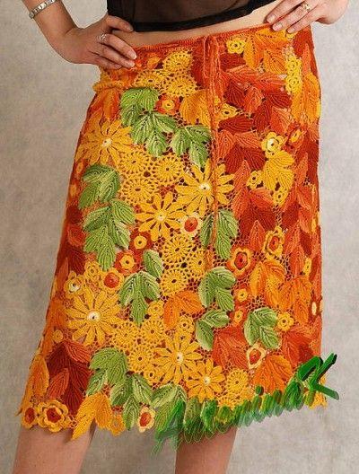 irish crochet freeform skirt