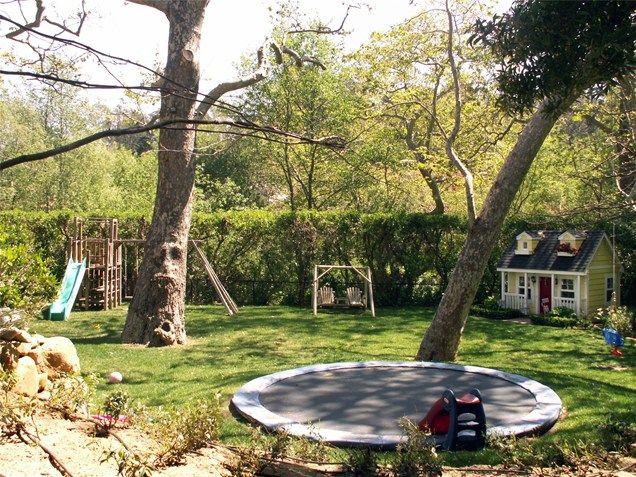 Large Backyard With Trampoline  Backyard Landscaping  Grace Design Associates  Santa Barbara, CA