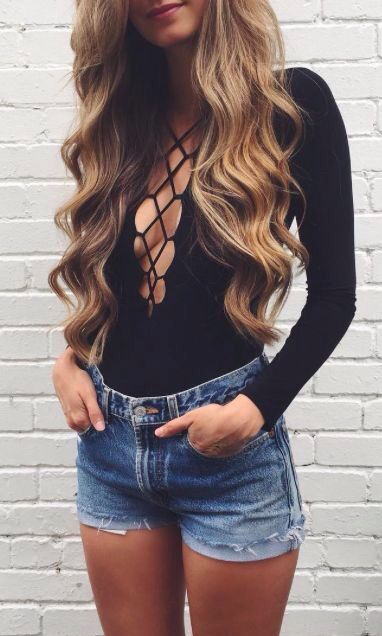 Black Lace Up Ribbed Long Sleeve Bodysuit Small