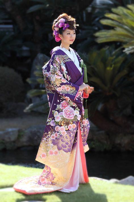 Amazing Purple and Pale Yellow Uchikake with Peony Print