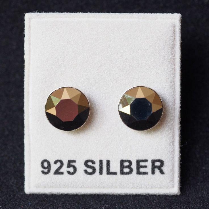 NEU 925 Silber OHRSTECKER 8mm SWAROVSKI STEINE in metallic light gold OHRRINGE-£9,99-magoshop1