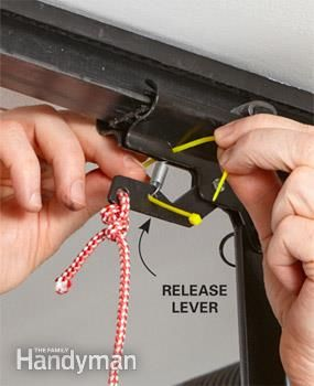 Add a tie to prevent a burglar from opening your garage with a fishing line.