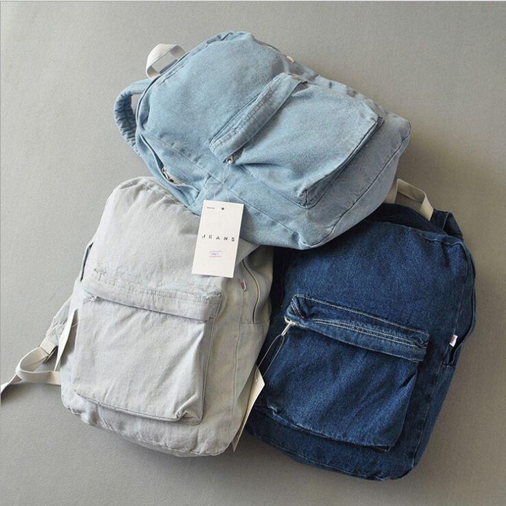 Купить товарМода пара рюкзак для девочек и мальчиков путешествия джинсовой…