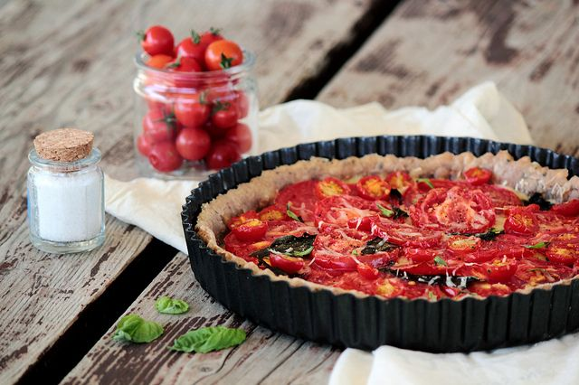 tomato + basil tart  with olive oil crust