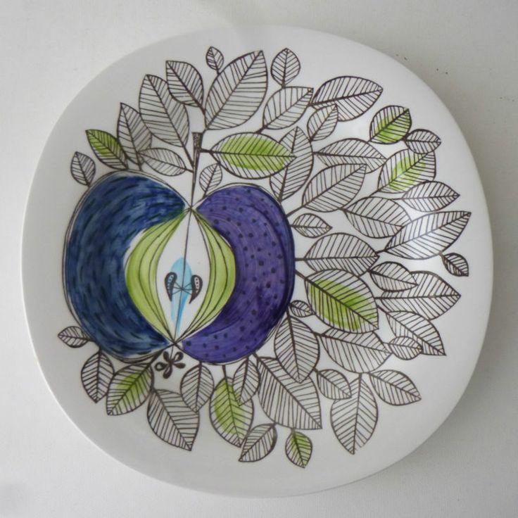 "Rorstrand Sweden 'Eden' 8"" plate - produced between 1960 & 1972. Blue apple and leaves pattern designed by Sigrid Richter."