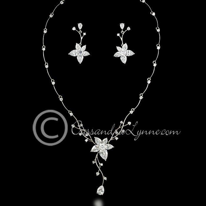 Teardrop flower CZ jewelry set