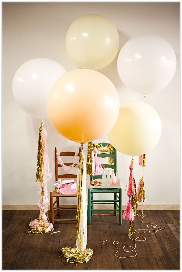 geronimo!, balloons, metallic, pink, yellow, tassels,