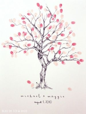 hand drawn tree print -finger print for every guest when they come to the home/or family tree by jillian