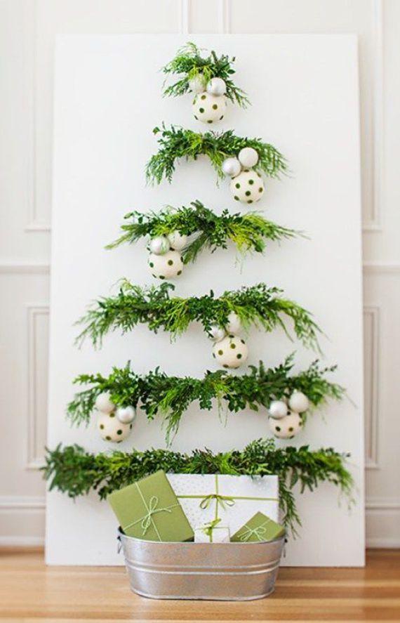 Ideas para decorar la pared con arboles de navidad