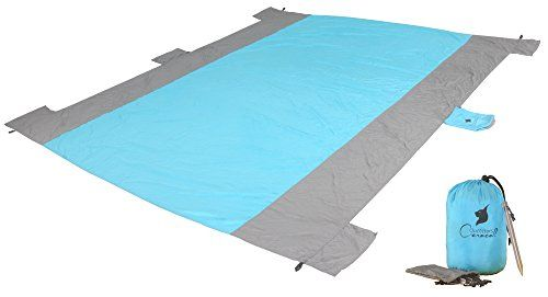 Caracal Outfitters Beach Blanket Oversized Large  Sand Proof Parachute Nylon Throw for Camping Picnics Concerts Outdoor Events  BuiltIn Zipper Pocket  Aluminum Anchor Stakes ** You can get additional details at the image link.