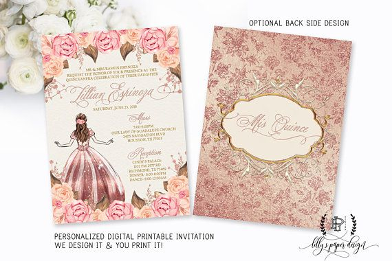 Rose Gold Quinceanera Invitation Quince Sweet Fifteen Mis