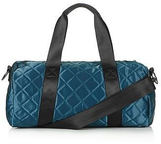 Womens petrol blue satin quilt gym bag from Topshop - £30 at ClothingByColour.com