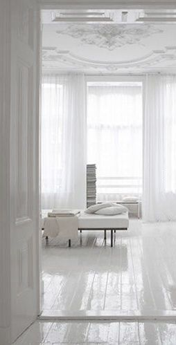 = gloss white floors and ornate ceiling // AMARILO