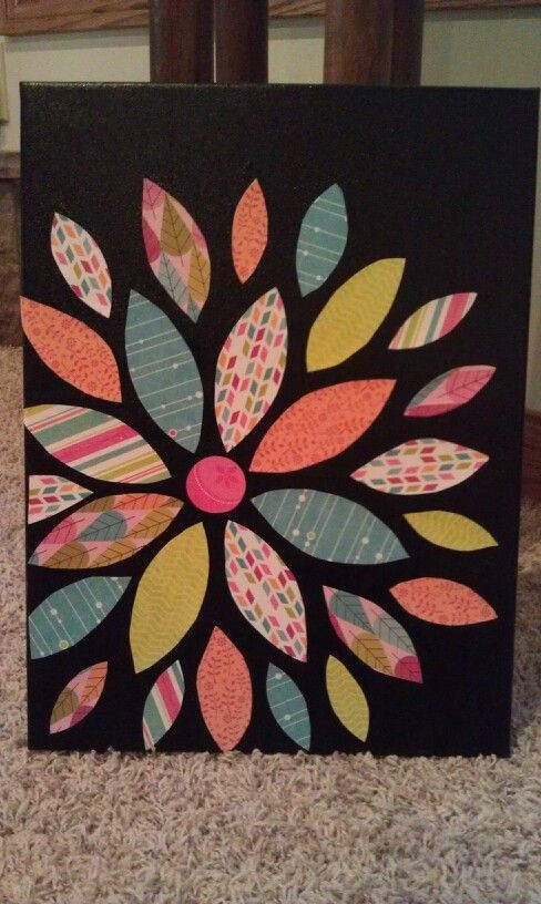 DIY Canvas Art Projects | Canvas art. I want to do this with Christmas colors/ paper.